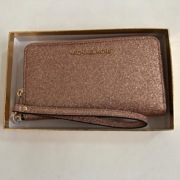 e490095d679f Michael Kors Bags   Rose Gold Glitter Wristlet Wallet   Poshmark